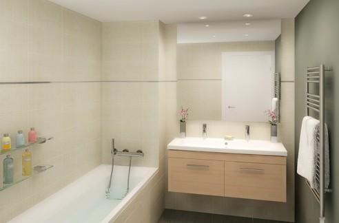 Illustration de l'aménagement d'une salle de bains