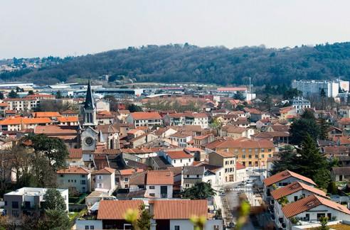 Vue sur le centre ville de Brignais